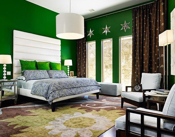 Интерьер спальни в темно зеленых тонах фото