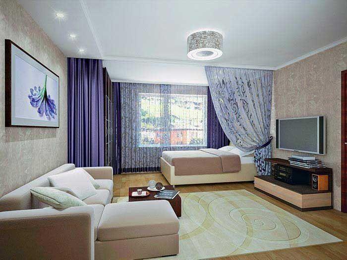 Дизайн комнаты с кроватью и диваном